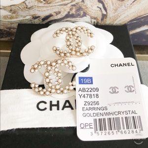 Chanel 19B Crystal Pearl CC Large Stud Earrings